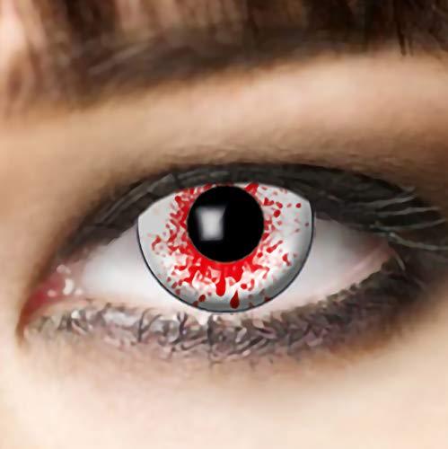 Farbige weiße Kontaktlinsen mit roten Blutspritzer, die Zombielinse, Bloodshot, Halloween Linsen,White Zombie Linsen, farbige Kontaktlinsen, Dracula
