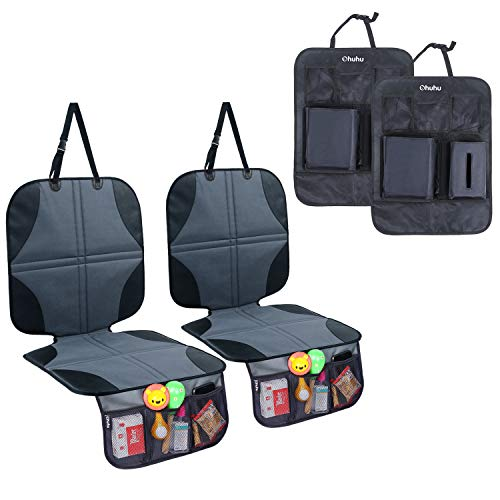 Ohuhu 4 Packs Baby Child Car Seat Protectors and Kick Mat Car Back Seat Cover - 2 Sets Auto Seat Cover for Carseats and Kids Kick Mats with Backseat Organizer Pockets Storage - Perfect for Dog Mats