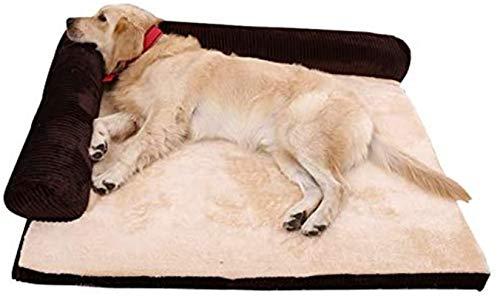 YAOSHUYANG Perro Cama Deluxe Extra Grande Memoria de Espuma de Espuma Sofá Cama de colchón Fleece para Perros Grandes, utilizando Espuma de Memoria de 5 cm sólidos, Desmontable y Lavable, Gris, m