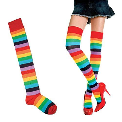 HKHJN Frauen bequeme schöne weiche beiläufige Überkniestrümpfe Regenbogen-Schenkel-lange gestreifte Strümpfe (Color : Color Mixture Color, Size : One size)