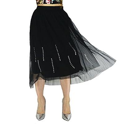 YSJERA Lady's Mesh Midi Skirt 3-Layers Pleated Midi/Tea Length Princess Floral Skirts