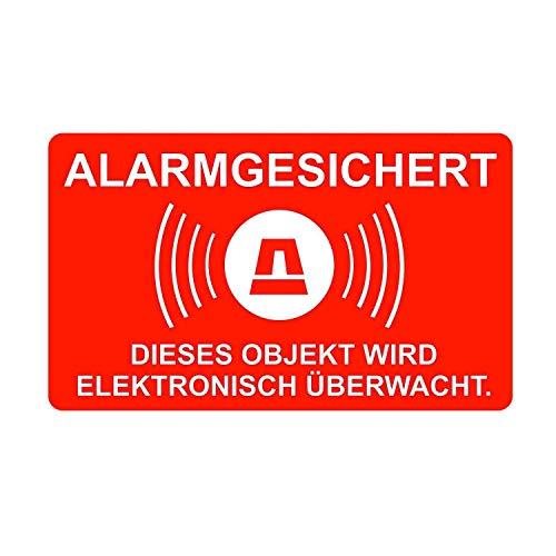 5er Aufkleber-Set Alarm-gesichert I hin_077 I Achtung Objekt wird elektronisch überwacht I für Fenster-Scheibe und Tür I außenklebend wetterfest