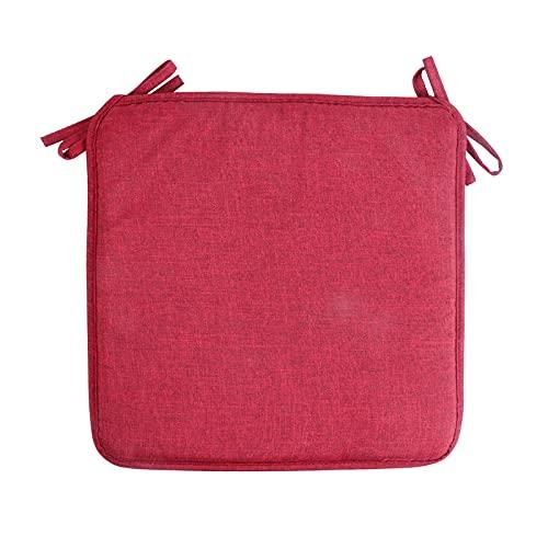 U/D 40 x 40 cm Hay Bangband - Cojín de tela de lino de imitación para silla de comedor, cojín cuadrado de esponja, antideslizante, color rojo