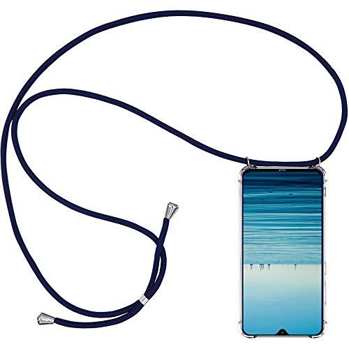 CLM-Tech Carcasa con Cuerda para Colgar Compatible con Xiaomi Redmi Note 8 - Funda Silicona Transparente con Cordon para Llevar en el Cuello, Azul Oscuro