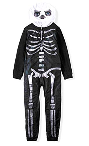 Epic Games Youth Unisex Zippered Skull Trooper Union Suit Costume (8) Black/White