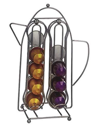 Soporte dispensador para cápsulas de café, 20 cápsulas de acero inoxidable para uso en cápsulas Nespresso, estante de almacenamiento para cafe