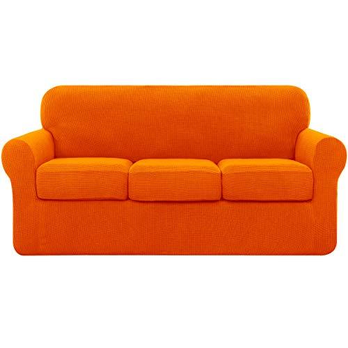 subrtex Funda de sofá de tres plazas con fundas de cojín elásticas, Antirayaduras para perros gato 3 personas Arancio