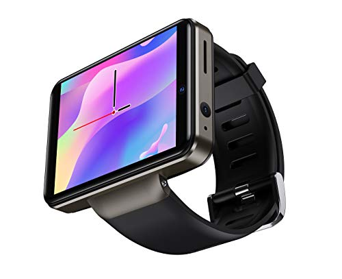 DM101 4G Smart Watch for Men 2.41' Display Android 7.1 3GB RAM 32GB ROM 2080mAh Watch Phone with Face ID Dual Camera Bluetooth GPS IP67 Waterproof Smartwatch (Black)