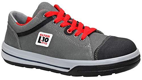 ELTEN Sicherheitsschuhe VINTAGE Pirate Low ESD S3, Herren, sportlich, Sneaker, leicht, grau/rot, Stahlkappe - Größe 44
