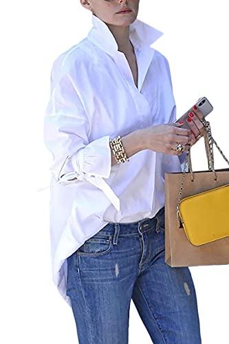 ONAYEYO Weiße Bluse Damen Elegant V-Ausschnitt Langarm Oberteile Hemd Freizeit Lose Langarmshirt Tunika Business Shirts Tops