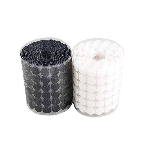 Finoki Klettpunkte, 200 Stück Selbstklebend Klett Klebe Punkte 10mm Self Adhesive Klett Punkte für Papier Kunststoff Glas Kleidungsstücke, 100 Schwarz + 100 Weiß