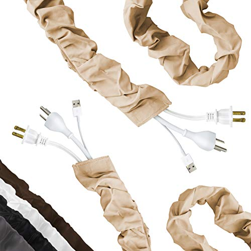 Cordinate Fabric Cord Cover 2 Pack, 6 Ft, Cable Management and Hider, Easy Installation, Great for Lamps, Light Fixtures, and Desks, Champagne, 48660