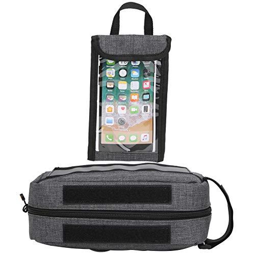 DAUERHAFT Fahrradtasche mit Seitentaschen Oxford-Stoff Doppelseitig verbreiterter reflektierender Streifen Fahrradhalterung Telefon Multifunktion für Mainstream-Telefone