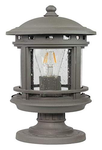 LWJPP American Country Poste retro Lámpara antigua lámpara de pie for el césped pilar de la columna Carden Villa Porche revestimiento acabado de aluminio fundido (Color : Gray)
