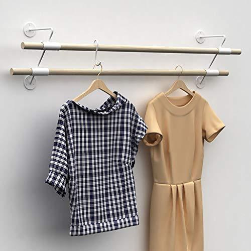 Kleidung Hanger Rod, Handel Kleidung Display Rack, 2 Holzstäbe, 4 Eisen Bases, Länge 60cm, 80cm, 100cm, 120cm (Color : B, Size : 120CM)