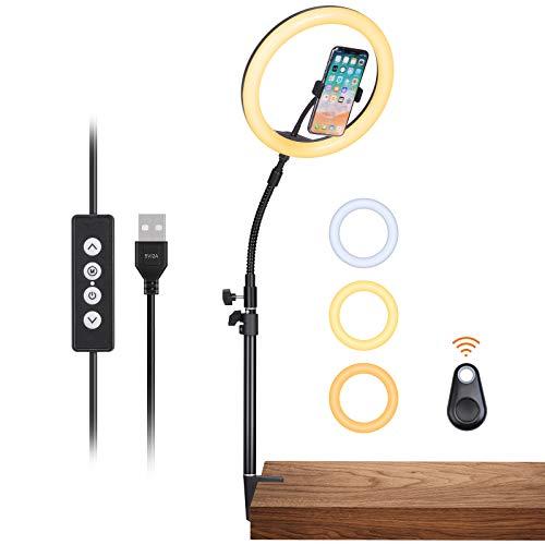 """Inkeltech Ring Light - 10"""" Selfie Ring Light with Desktop Stand & Phone Holder, 10W Dimmable LED Light Ring with 3 Light Modes & 11 Brightness Levels, Portable Lighting Kit for Makeup, YouTube, TikTok"""