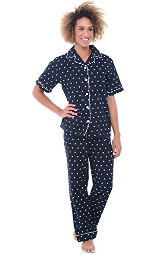 Alexander Del Rossa Women's Lightweight Button Down Pajama Set, Short Sleeved Cotton Pjs, Small Black and White Polka Dot (A0518V16SM)