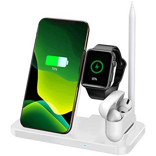 Aimtel - Stazione di ricarica wireless 3 in 1, compatibile con Apple Watch serie 5/4/3/2/1, iPhone 11/11 Pro / 11 Pro MAX/XS MAX/XR, AirPods 1/2, colore: nero