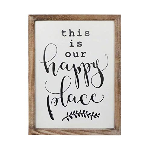 SANY DAYO HOME Wall Decor Signs with Inspirational Quotes 12 x 16 inches Rustic Wood Framed Modern Farmhouse Wall Hanging Art - This is Our Happy Place