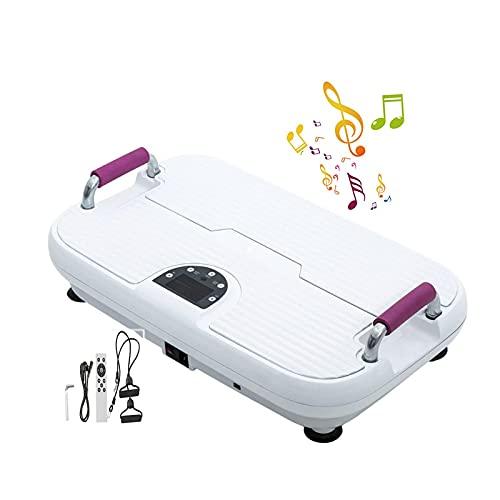 Plataforma Vibratoria, 4D Plataforma Vibratoria, Admite Conexión Bluetooth Y USB, 2 Bandas De Resistencia, Vibration Fitness Trainer Para Perder Peso Y T(Color:Placas de potencia de vibración blancas)
