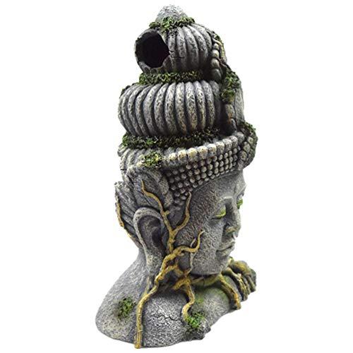 Scicalife Decoración de Buddah para Pecera- Adorno de Estatua de Buda de Acuario- 28. ¡50X19! Decoración de La Cueva del Hideout del Paisajismo 5X14cm