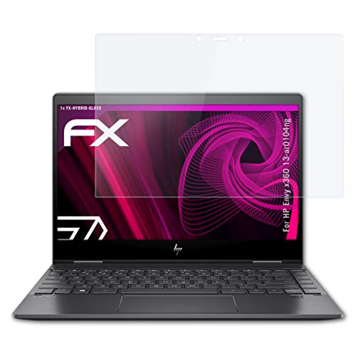 atFolix Glasfolie kompatibel mit HP Envy x360 13-ar0104ng Panzerfolie, 9H Hybrid-Glass FX Schutzpanzer Folie