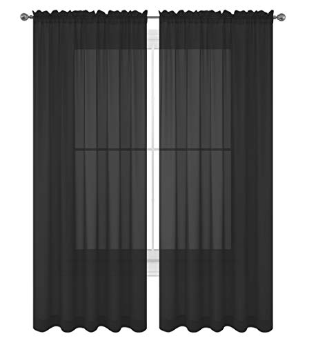 """WPM WORLD PRODUCTS MART Drape/Panels/Scarves/Treatment Beautiful Sheer Voile Window Elegance Curtains Scarf for Bedroom & Kitchen Fully Stitched and Hemmed, Set of 2 Black (Black, 84"""" Inch Long)"""