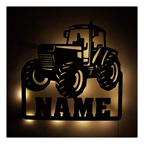 Möbel Deko Licht Trekker Traktor-Lampe mit Name-n für Männer Mann Kind-er Junge-n Jungs ab 0 1 2 3 4 5 6 7 8 9 Monate Jahre Jähriges Kinderzimmer (Traktor V6)