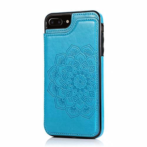 Lijc Compatible con Funda iPhone 6 Plus/6S Plus Botón Doble Mandala En Relieve PU Cuero Tarjeta Bolsillos [Ranura para Tarjetas] [Soporte Plegable] Antigolpes Flip Caso-Azul