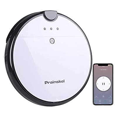 Prainskel F20-AI Robot Vacuum Cleaner, App Control, 120Min Runtime, Daily Schedule, Self-Charging Robotic Vacuum Cleaner, Clean Pet Hair, Hard Floor and Low-Pile Carpet, White