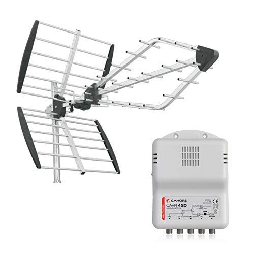 Triax Pack Viper Antenne TNT Rateau TV Prémontée + Amplificateur d'intérieur 4 Sorties