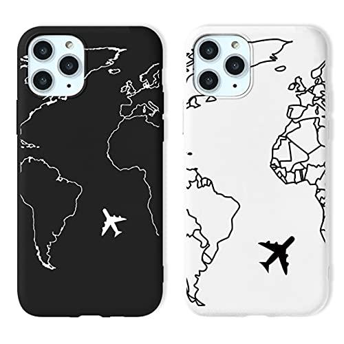 Yoedge 2 Piezas para Apple iPhone X/XS Funda, Silicona Mate Suave TPU Protección Carcasa con Mapa del Mundo Dibujos, Ultra Delgada Antichoque Case para iPhone XS 5,8 Pulgada, Negro y Blanco