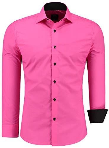 Jeel Herren-Hemd Langarm - Slim-Fit - Business Freizeit Hochzeit - Bügelleicht - Pink M