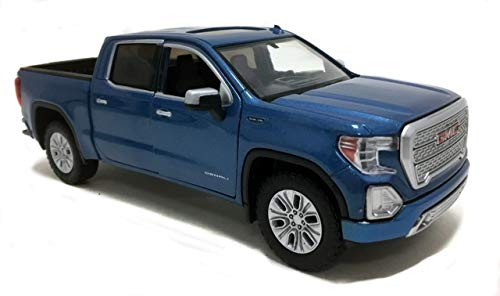 Motormax 2019 GMC Sierra 1500 Denali Crew Cab Pickup Truck Metallic Blue 1/24-1/27 Diecast Model Car 79362, Toys for Kids and Adults