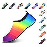 DL Water Shoes for Women and Men Barefoot Quick-Dry Aqua Socks Slip-on for Beach Pool Swim Surf Yoga Exercise, Multi-Color 1, 15-16 Women/14-15 Men