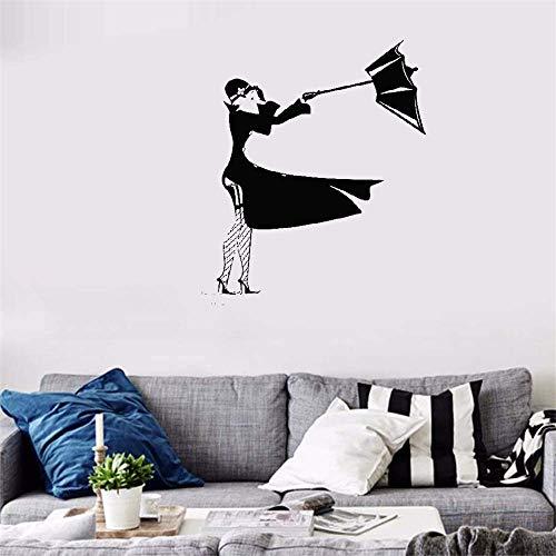 wandaufkleber baby Mädchen-Pfütze-Regen-Gewitter-Wind-Regenschirm