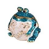 Yufeng - Joyero pintado a mano con bisagras y diseño de rana azul para bodas, joyas, anillos, figura de animal, centro de mesa coleccionable para niña (rana azul)