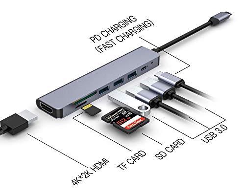 Seaboom USB-C 7 in 1 Hub Expander Multifunktions-Adapter mit 4 K HDMI-Ausgang, 3 USB 3.0 Ports, SD/TF-Kartenleser, kompatibel für Mac Pro/XPS und andere Typ-C Laptops