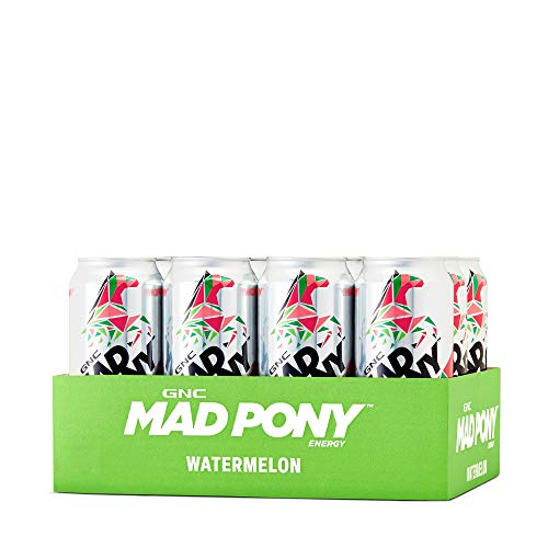 GNC Mad Pony Energy - Watermelon, 12 Pack, Tasty Energy Drink Featuring Vitamins B6 and B12