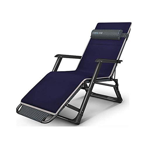 Sillón reclinable Ocio, sillón reclinable plegable portátil con reposacabezas desmontado para el almuerzo en el interior Silla perezosa Viaje Playa Camping Jardín Silla de jardín, 12 Gear Adjustme