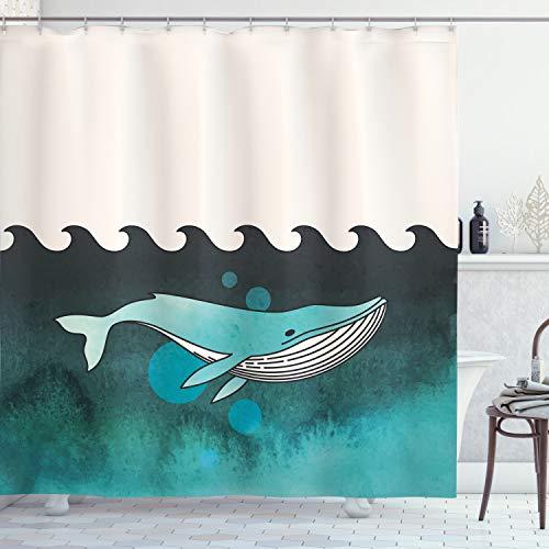 ABAKUHAUS Tier Duschvorhang, Wal in der Nähe von Palm Island, mit 12 Ringe Set Wasserdicht Stielvoll Modern Farbfest & Schimmel Resistent, 175x180 cm, Grün & Blau