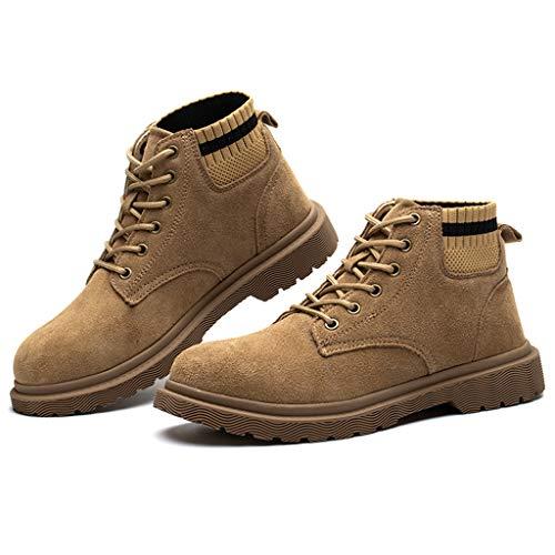 WggWy Botas De Seguridad De La Puntera De Acero De Los Hombres, Zapatos De Trabajo No Cómodos Y Seguros Antideslizantes Adecuados para Usar En Sitio De Construcción Fábricas,38