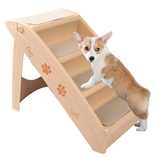 Escalera Plegable para Mascotas De 4 Peldaños para Perros Pequeños Y Grandes, Cama Y Sofá, Coche, Escalera Antideslizante para Mascotas De 4 Escalones para Perros Y Gatos De Interior Mascotas,Beige