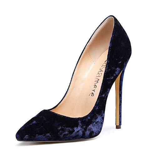CASTAMERE Damen High Heels Spitzen Zehen Stilettos Slip on Pumps 12CM Blau Samt Schuhe EU 40