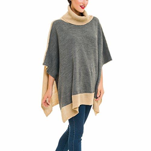 Cardigan Poncho Turtleneck Sweater: Women Shawl Wrap Cape Coat for Spring Fall (PC04-15)