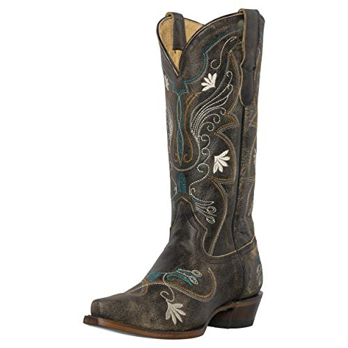 Womens+Western+Cowgirl+Cowboy+Boots%2c+Juliet+Heritage+Square+Snip+Toe+by+Silver+Canyon%2c+Black%2c+Cream+Flowers%2c+Size+12M