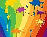 FOURFOOL DIY 5D Diamante Pintura por Número Kit,Fondo de fiesta de cumpleaños con tema de Graffiti Style Rainbow Paint Splash Hip Hop 80 's 90',Rhinestone Bordado Artes Manualidades Lienzo,40x50cm