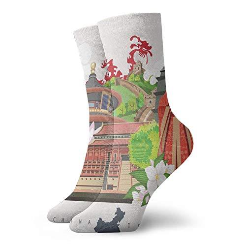 Soft Mid Calf Length Socks,Vintage Style Chinese Attributes Of Phoenix Dress Lotus Flower Dragon Palace,Socks for Men Women