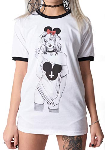 The Dead Generation Twisted Morning White Ringer T Shirt - Emo Gothic Scene - Anna Maine Art (L)