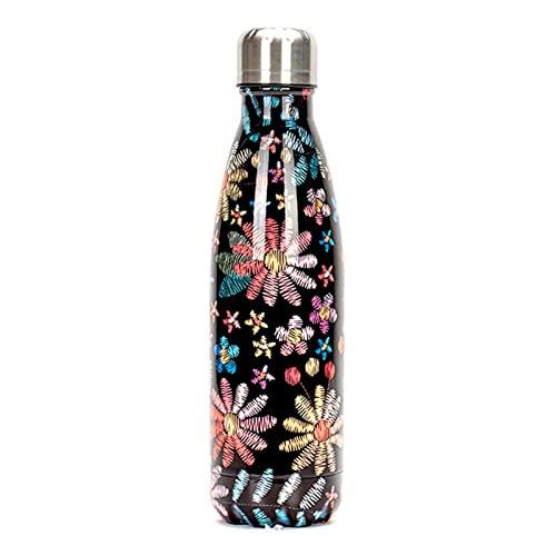 XMYNB Botella de Agua Botella De Agua Floral Bpa Free Acero Inoxidable Thermos Botella Gimnasio Deporte Viaje Viaje Aislado Taza Taza De Navidad-500Ml,K